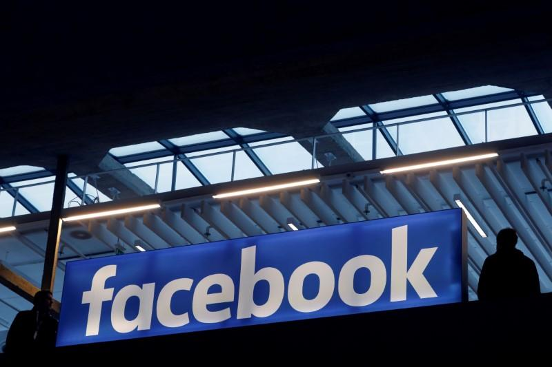 FILE PHOTO - Facebook logo is seen  at a start-up companies gathering at Paris' Station F in Paris