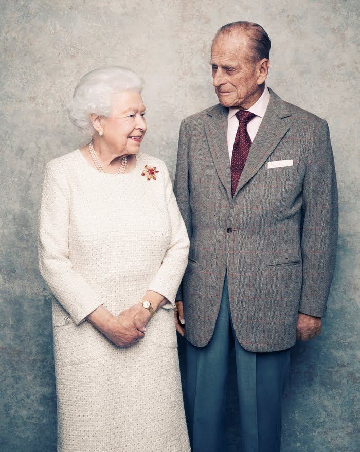 A handout photo shows Britain's Queen Elizabeth and Prince Philip in the White Drawing Room at Windsor Castle