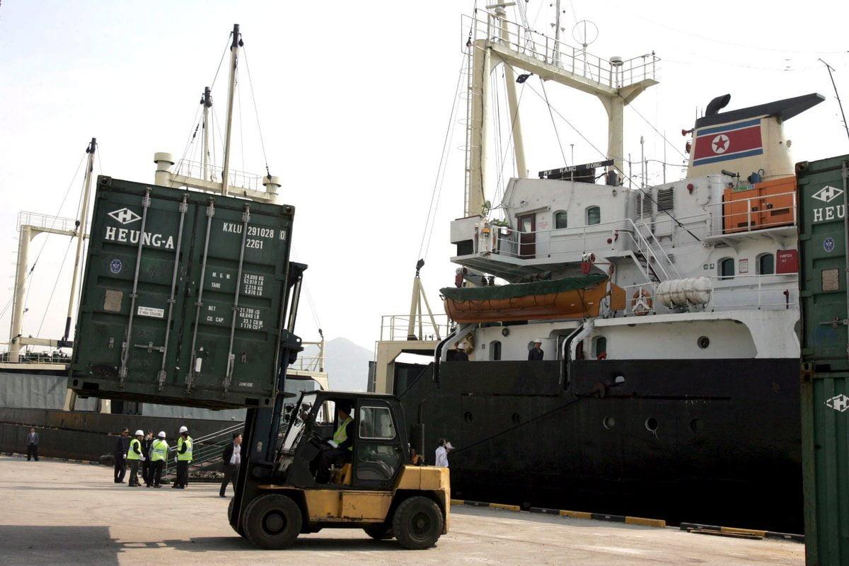 North Korean cargo ship in Busan